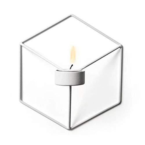 Bobioy 1Piece 3D Geometric Candleholder Wall-Mounted Metal Candleholder Wall Ornaments