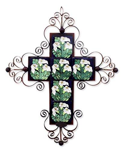 NOVICA Ceramic Calla Lily Cross Iron Wall Candleholder