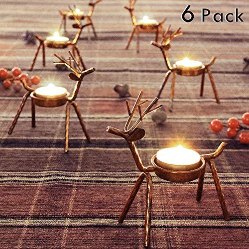 FORUP 6 Pack Metal Reindeer Tea Light Candle Holders Christmas Decoration for Home Reindeer Candle Holder Metal Candle Holder Christmas Candle Holder