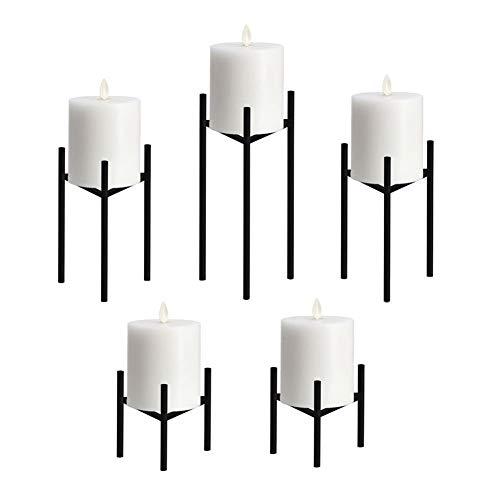 Only-us Metal Pillar Candle Holders Set of 5 Black Candlesticks for FireplaceTableWeddingChristmas Candelabra Decoration Modern Art Classic Design with Geometric Shape
