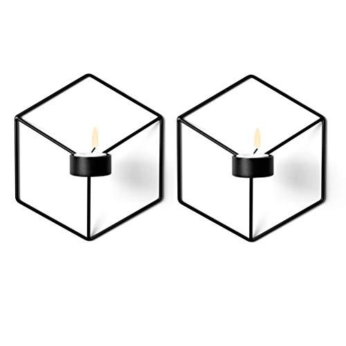 Sziqiqi 3D Geometric Candleholder Wall-Mounted Metal Candleholder Wall Ornaments3