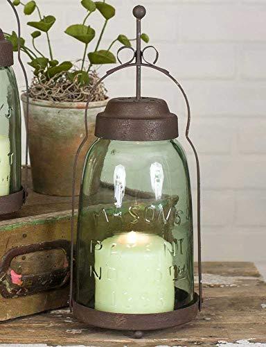 Half Gallon Mason Jar Butler Lantern- Metal Lantern Candle Holder Rustic IndoorOutdoor Light for Your Home Decor - Modern Rustic Vintage Farmhouse Style