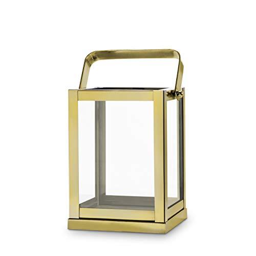 LampLust Gold Lantern Candle Holder Centerpiece - 9 Tall Glass Paneled Geometric Square Shape Decorative Lantern for Wedding Decor and Table Decoration