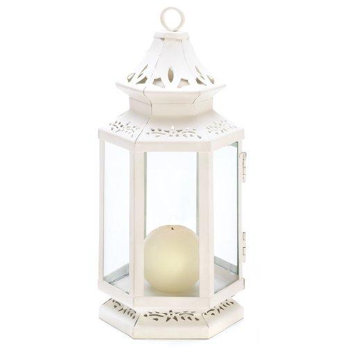 Medium Size Victorian White Candle Lantern Candleholder