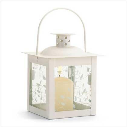 Small White Lantern Ivory Glass Candleholder Candle