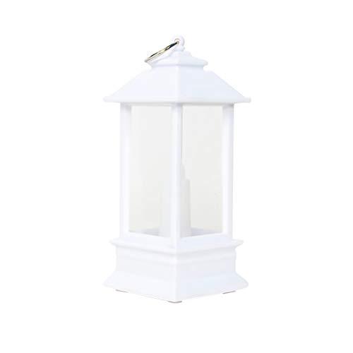 Zcuhen Vintage Decorative Lantern with LED Pillar Candle Outdoor Lanterns Decorative Hanging - Battery Lantern Candle Holder - Metal Glass Candle Lantern Moroccan Style Portable Pavilion Shape