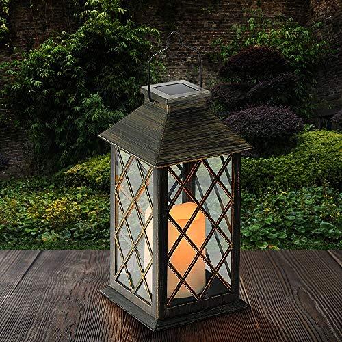 Tomshine LED Solar Lantern Waterproof Outdoor Lantern Solar Lights Outdoor Decorative Candle Light for Patio Courtyard Garden