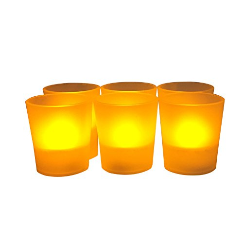 Flameless Party Votives Amber Led Flameless Candles With Plastic Cup batteries Included Set Of 6