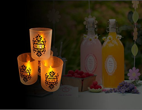 Loguide Flickering Led White Flameless Votive Candles Set Light In Cup For Wedding Party Chrismas Halloween Dining