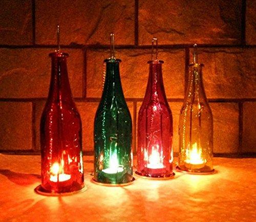 Set of 4 Hanging Bottle Candle Tea Light Holders Votive Bottle Glass Lantern w Bonus LED Flameless Candle for Outdoor Indoor Decoration Party Holiday Wedding Event