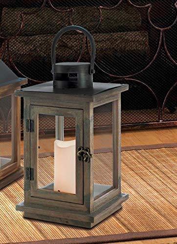wakatobi Brown Wood Metal Lantern Holder Lamp Light Wedding Table LED flameless Candle