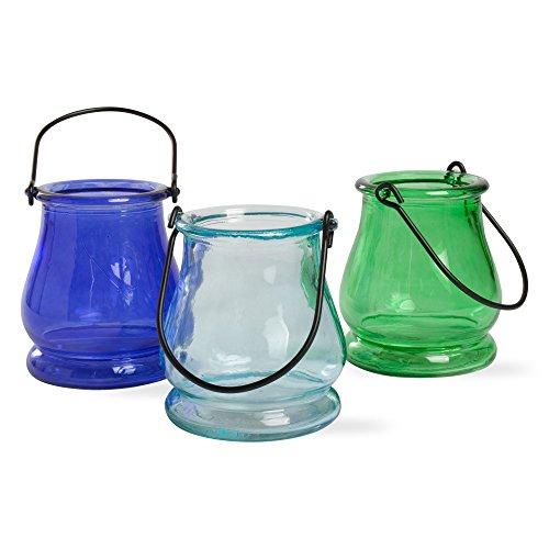 Mini Glass Lantern Tea Light Candle Holders Set of 6 Assorted Colors