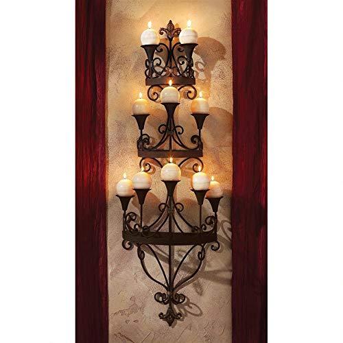 Design Toscano Carbonne Candle Chandelier Wall Sconce Black