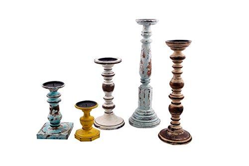 Benjara Multicolor BM41141 Wooden Pillar Shaped Candleholder Set of 5