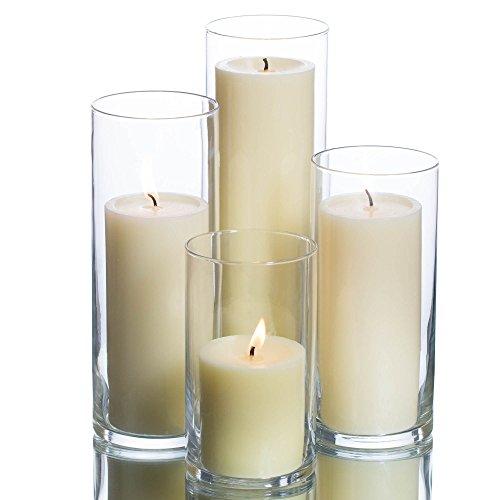 Eastland Cylinder Pillar Holder Richland Pillar Candles Ivory Set of 4