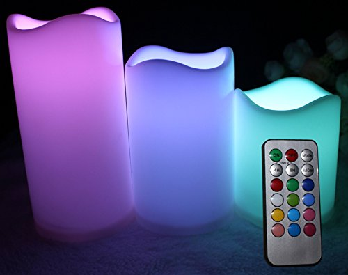 Flameless LED Indoor Outdoor Candles with Remote Control - 12 Colors to Suit Any Mood Even Bedroom Dining or BBQ - 3 Candle Set Height 3 4 5 Diameter 3 Starter Batteries included - Works right out of the box 1 Year No-Quibble Guarantee