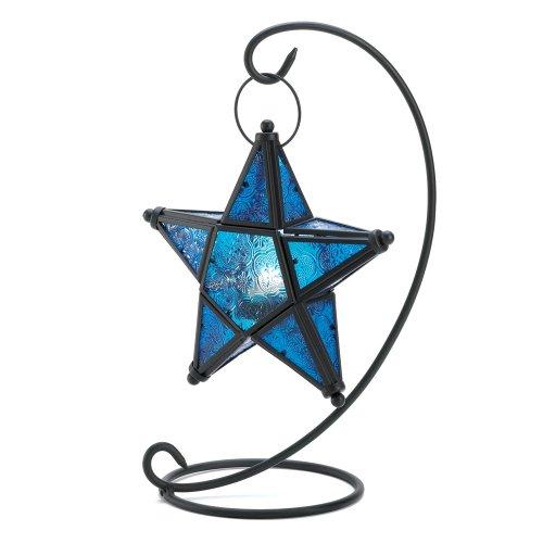 Gifts Decor Blue Sapphire Star Tabletop Candleholder Lantern Decor