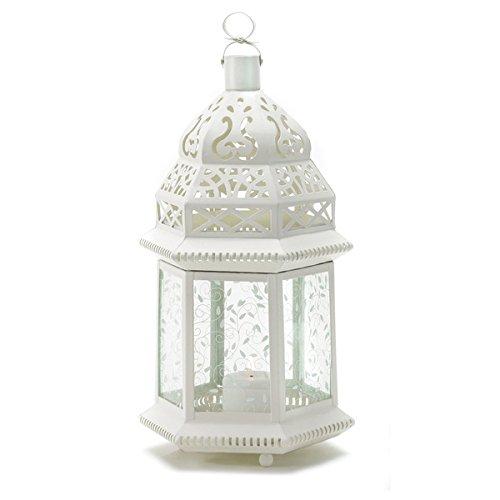 Large White Moroccan Outdoor Garden Candle Lantern