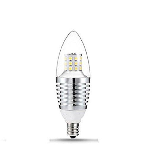 Zehui 7W Warm White LED Candle Bulb 110V 650 Lumens LED Bulb Lights Non-dimmable Torpedo Shape Thread Sliver LED E12 Candelabra Base Bulb Daylight 6000-6500K