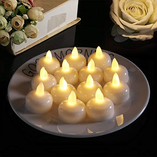 AESTHING 12 Pack Waterproof Flameless Floating Tealights Battery Flickering LED Tea Lights Floating Candle for Wedding Party Centerpiece Pool and SPA White
