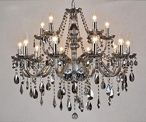 Crystal Chandelier LED E12 3 Brightness Smoke Gray Crystal Candle Ceiling Lights Chandelier Ceiling lamp lamp Chandelier Chandelier Lighting with 15 5W E12 Bulbs 10  5L)