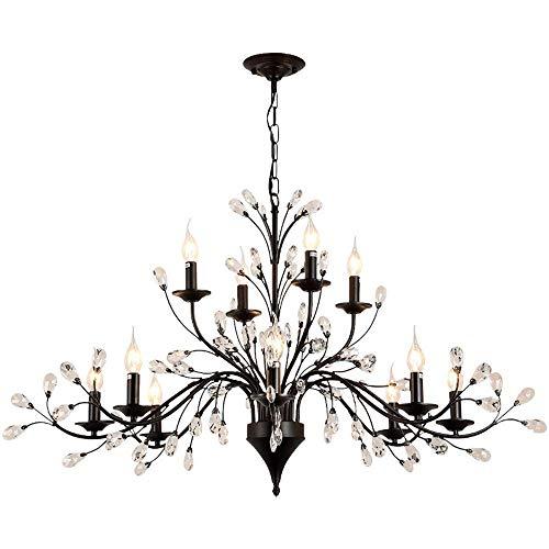 HOMWEERUN LED E12 LED 3 Brightness Clear Crystal Matte Black Candle Chandelier Ceiling Lights Fixture Lamp Chandelier Pendant Lights Lighting with 12pcs 5W E12 LED Bulbs 8L4LD44 x H24