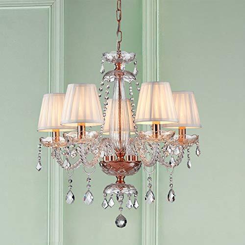 Saint Mossi Rose Gold K9 Crystal Chandelier Lighting LED Ceiling Light Fixture Pendant Lamp for Dining Room Bathroom Bedroom Livingroom 5 E12 LED Bulbs Required Height 24 x Width 25