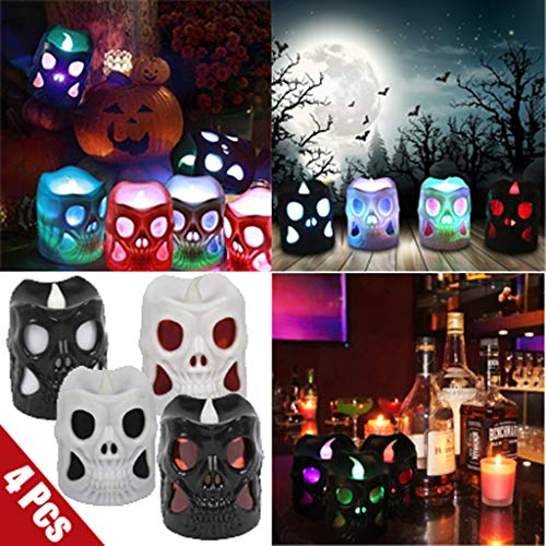 4 Pcs Portable Halloween Candle Skull Shape Electronic Lighting Light Battery Operated Decorative Lights for Bar KTV Halloween Party Decor Indoor Holiday