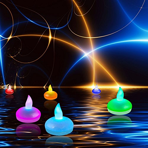 Echoacc Set Of 12 Floating Flameless Led Candles Colour Changing Mood Tea Lights Waterproof Wedding Holiday Christmas