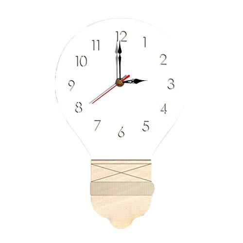 Sendke New 3D Nordic Style Wall Clock Modern Design Living Room Decorative Light Bulb Wall Watches Silent Wooden Clock