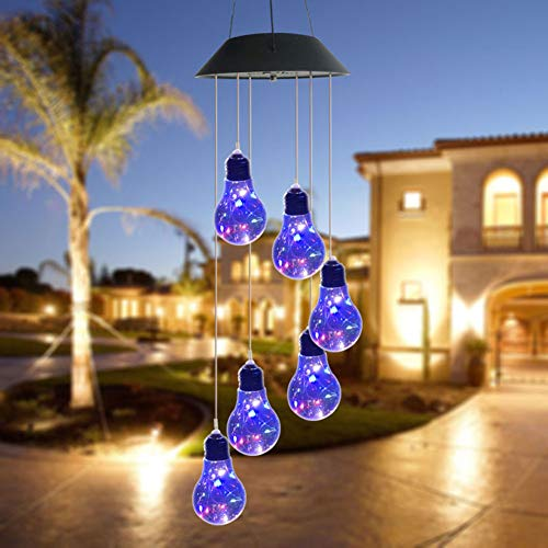 Weijl Outdoor 6 LED Solar Wind Chime Light Festive Decorative Light Bulb String String Room Corridor