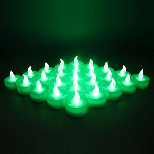 Yuren Battery Operated Led Green Flameless Flickering Flashing Tea Light Candles 24-pack