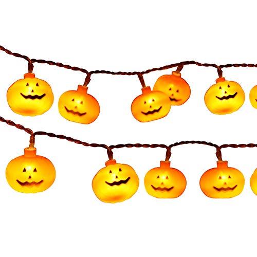 AJDGL Pumpkin String Lights LEDs Battery Operated Lantern Lights Orange Fairy String Lights for Patio Garden Gate Yard Festive Decoration30light