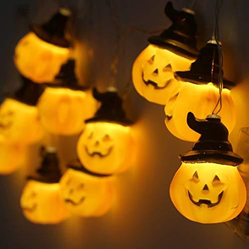 Indexshop Halloween String Lights 10 LED Pumpkin Lights 3D Jack-O-Lantern Battery Operated Lantern Halloween Decorations Lights for OutdoorYardDormRoom Yellow