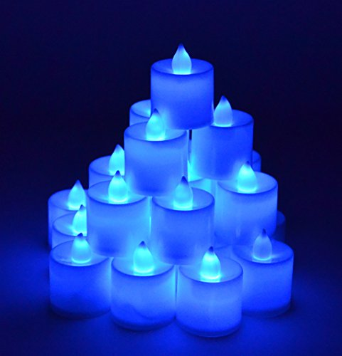 Samyo Set of 24 Battery Flameless Smokeless LED Tealight Candles - Blue Candlelight