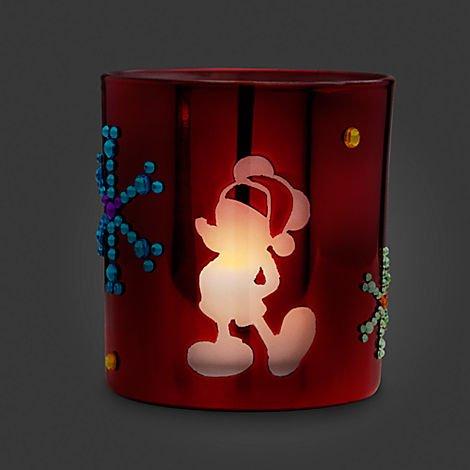 Disney Santa Mickey Mouse Flameless Candle Holder Christmas Holiday Jeweled Gemstone Snowflakes