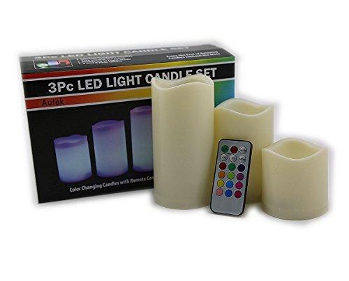 Autek 3pcs Flameless Remote Control 12 Color-changing Led Candle Light Set 751215MM
