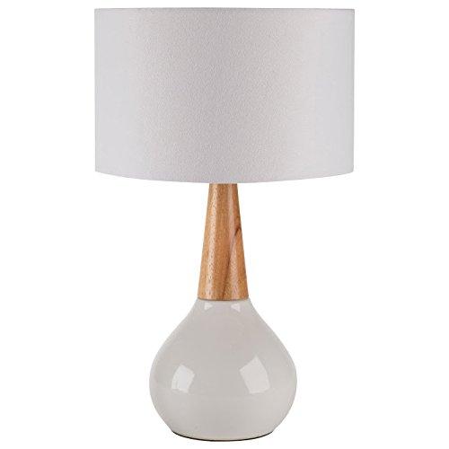 60 Watts Modern Ceramic Wood Base Table Lamp White