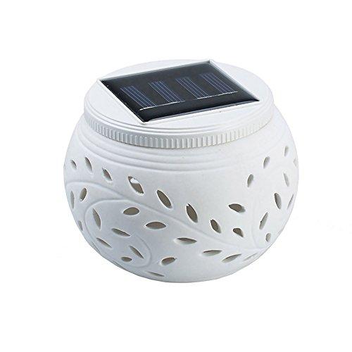 Kelomtechnology Ceramic Colour Changing Led Solar Sun Powered Globe Ball Table Light Garden Lamp