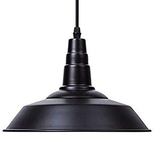 LAMPUNDIT Industrial Metal Pendant Light Height-Adjustable Edison Farmhouse Kitchen Lamp for Barn Restaurants Hotels and ShopsBlack