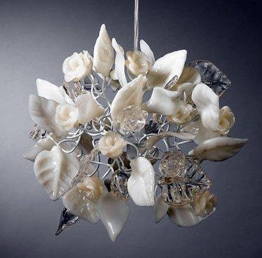 White Lampshades - White Roses Pendant Lighting - Unique lighting fixtures - Dining Room Lighting -Living Room Lighting and Bedroom Lighting