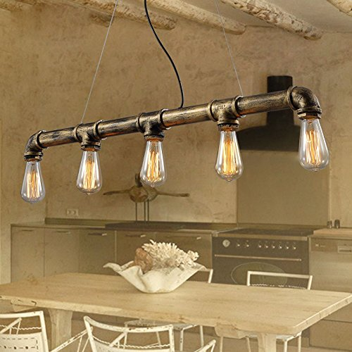 Vintage Pendant Lights Water Pipe Pendant Lamp with 5pcs E27 Edison Bulbs Bronze Color Antique Lighting 110v220v