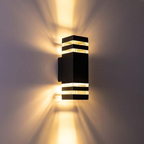 RINLNOY Led Wall Sconce Waterproof Porch Light 12W,Black Modern 2-Light Outdoor Wall Lamp,1320 LumenIP65 Waterproof Up and Down Light Indoor Outdoor Porch Light Fixture 3000K Warm White