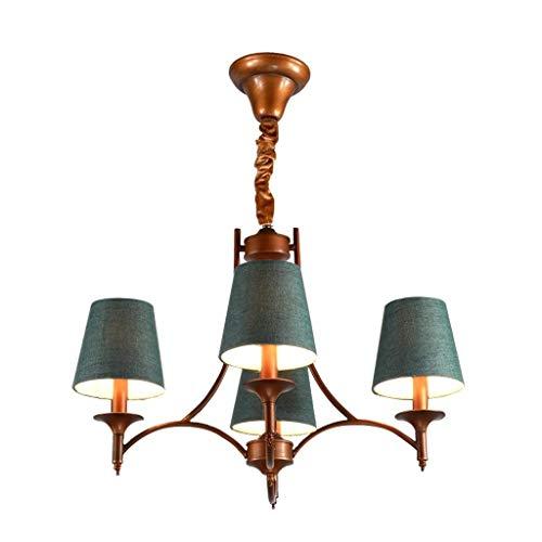 RMXMY Garden Wrought Iron Chandelier Nordic Mediterranean Retro Living Room Bedroom Dining Room Lamp Green Home Warm Creative Chandelier(4866cm)