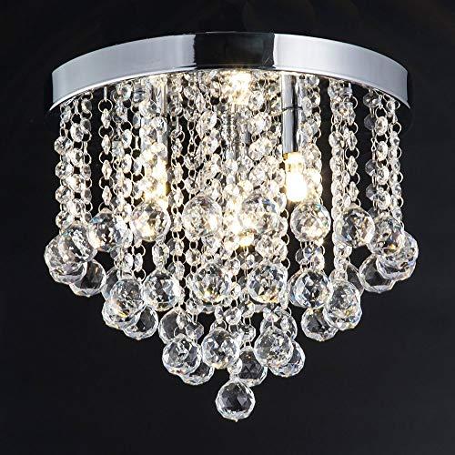 3 Lights Crystal Modern Chandeliers Pendant Flush Mount Ceiling Light 4-Tier Chandelier Lighting for Dining Room Living Room Bedroom Girls Room Silver