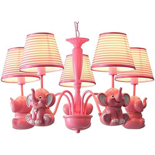 Ceiling Lights Elephant Chandelier Cartoon Pink Childrens Room Chandelier Princess Room Bedroom Light Girl Room Chandelier Lighting Color  Red Size  70cm40cm