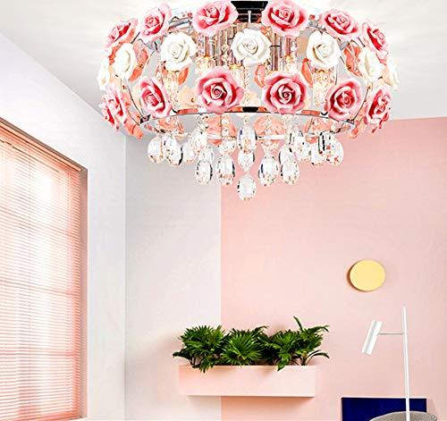 MoreChange 195inch Crystal Ceiling Light Fixtures Flush Mount Ceramic Rose Flowers Chandelier Pendant Lighting with 5-Light E14 Socket for LivingDining Room Bedroom Girl Room