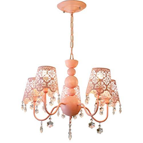 Xuejuanshop Pendant Lights Hanging Bedroom Chandelier Pink Garden Crystal Lamp Girl Room Chandelier Ceiling Pendant Light