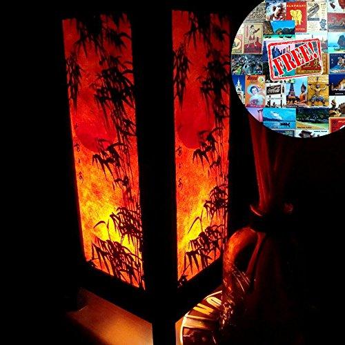 Orange Bamboo Table Lamp Lighting Shades Floor Desk Outdoor Touch Room Bedroom Modern Vintage Handmade Asian Oriental