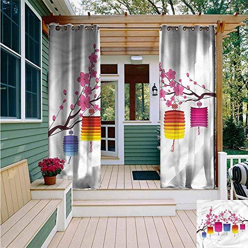 AFGG Curtains for BedroomLantern Chinese Sakura TreesWaterproof Patio Door PanelW108x96L